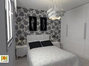 Decoración de habitación aprovechando mesillas